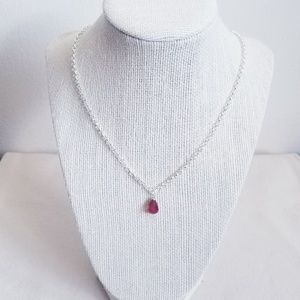 Silver Plated Teardrop Birthstone Necklace